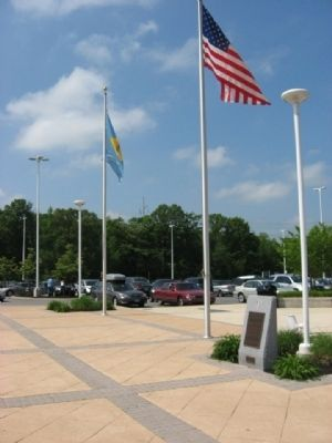 Marker in the rest area parking lot image. Click for full size.