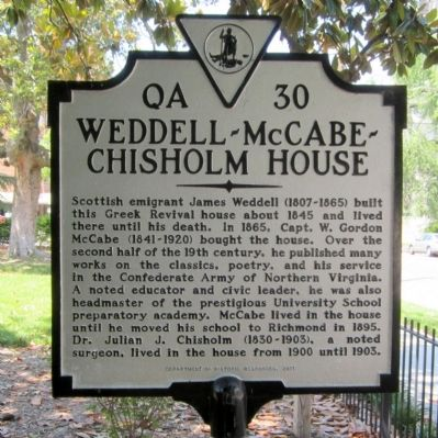Weddell-McCabe-Chisholm House Marker image. Click for full size.