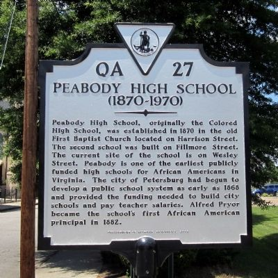 Peabody High School Marker image. Click for full size.