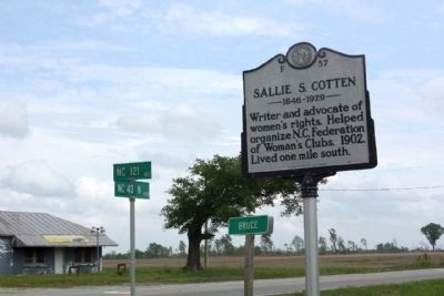 Sallie S. Cotten Marker at the intersection of North Carolina Route 43 and North Carolina Route 121 image. Click for full size.