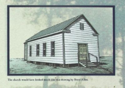 The church would have looked like this drawing by Steve Allen. image. Click for full size.
