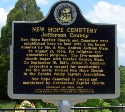New Hope Cemetery Marker, front image. Click for full size.