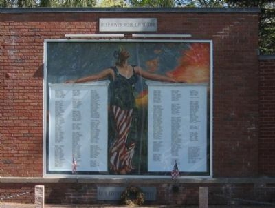 "Deep River Veterans Memorial with the painting ""Columbia"" image. Click for full size."