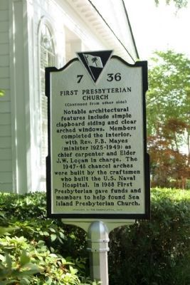 First Presbyterian Church Marker, reverse side image. Click for full size.