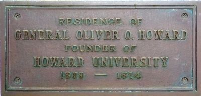 Plaque on the front wall of Howard Hall image. Click for full size.