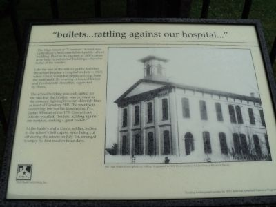 """bullets . . . rattling against our hospital . . . "" Marker image. Click for full size."
