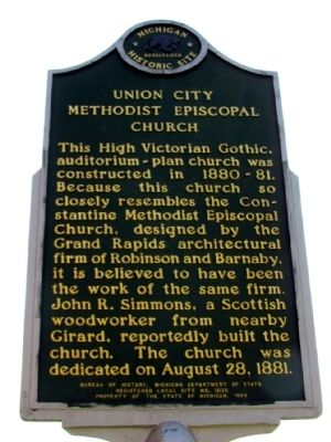 Union City Methodist Episcopal Church Marker image. Click for full size.