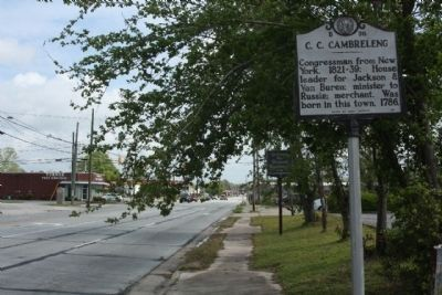 C. C. Cambreleng Marker looking north along Bridge Street (U.S. 17) image. Click for full size.