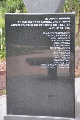 Cerritos Air Disaster Memorial [Left Panel] image. Click for full size.