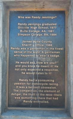 Deputy Sheriff Randal Eugene Jennings Marker, Second Memorial Plaque image. Click for full size.