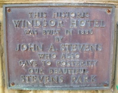 Windsor Hotel Marker image. Click for full size.