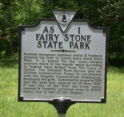 Fairy Stone State Park Marker image. Click for full size.