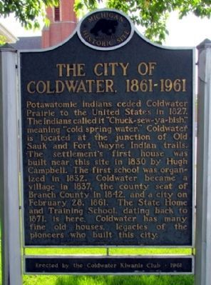 The City of Coldwater, 1861-1961 Marker image. Click for full size.