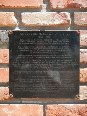 Marysville Hebrew Cemetery Marker image. Click for full size.