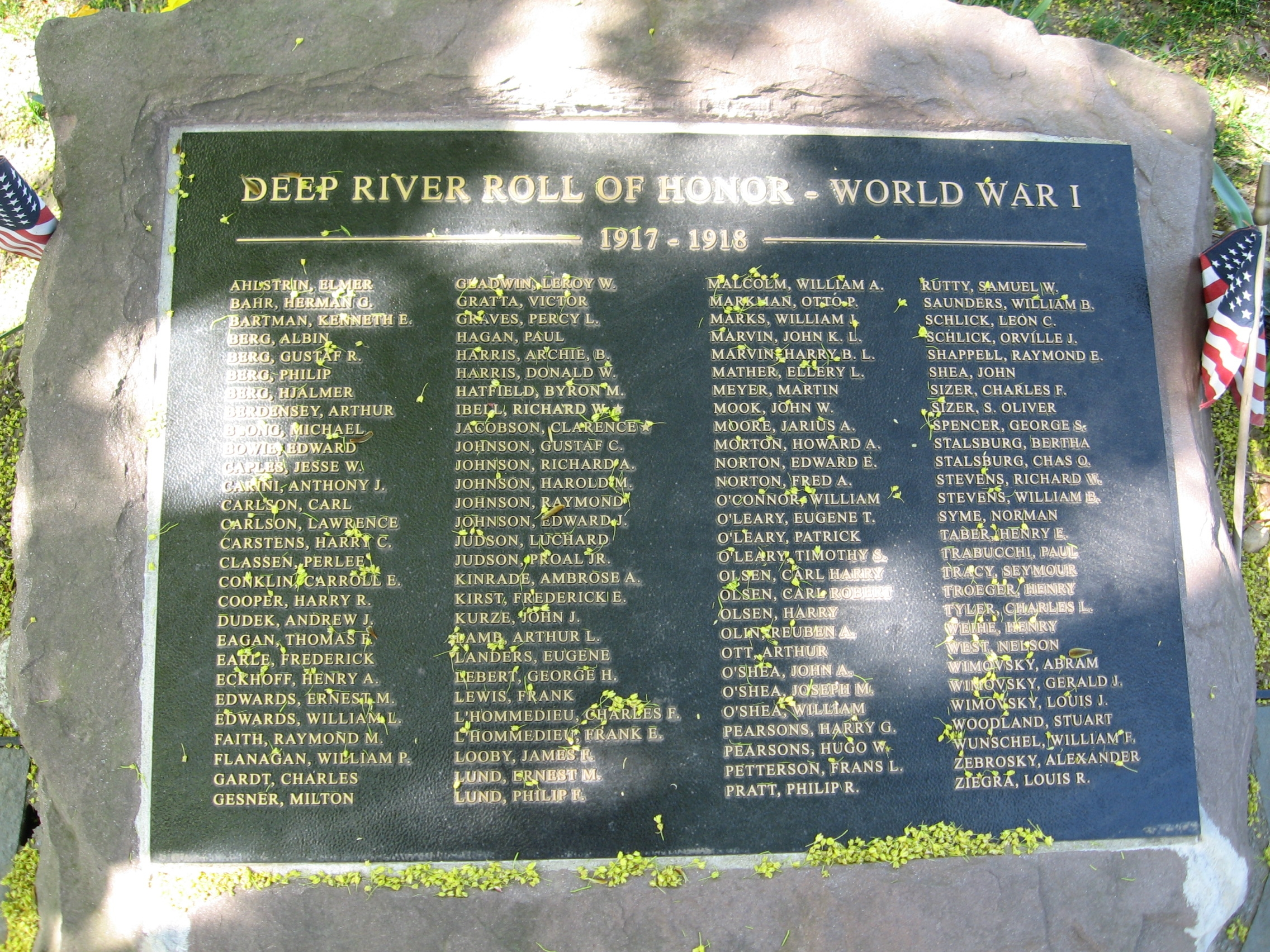 Deep River Roll Of Honor - World War I Marker