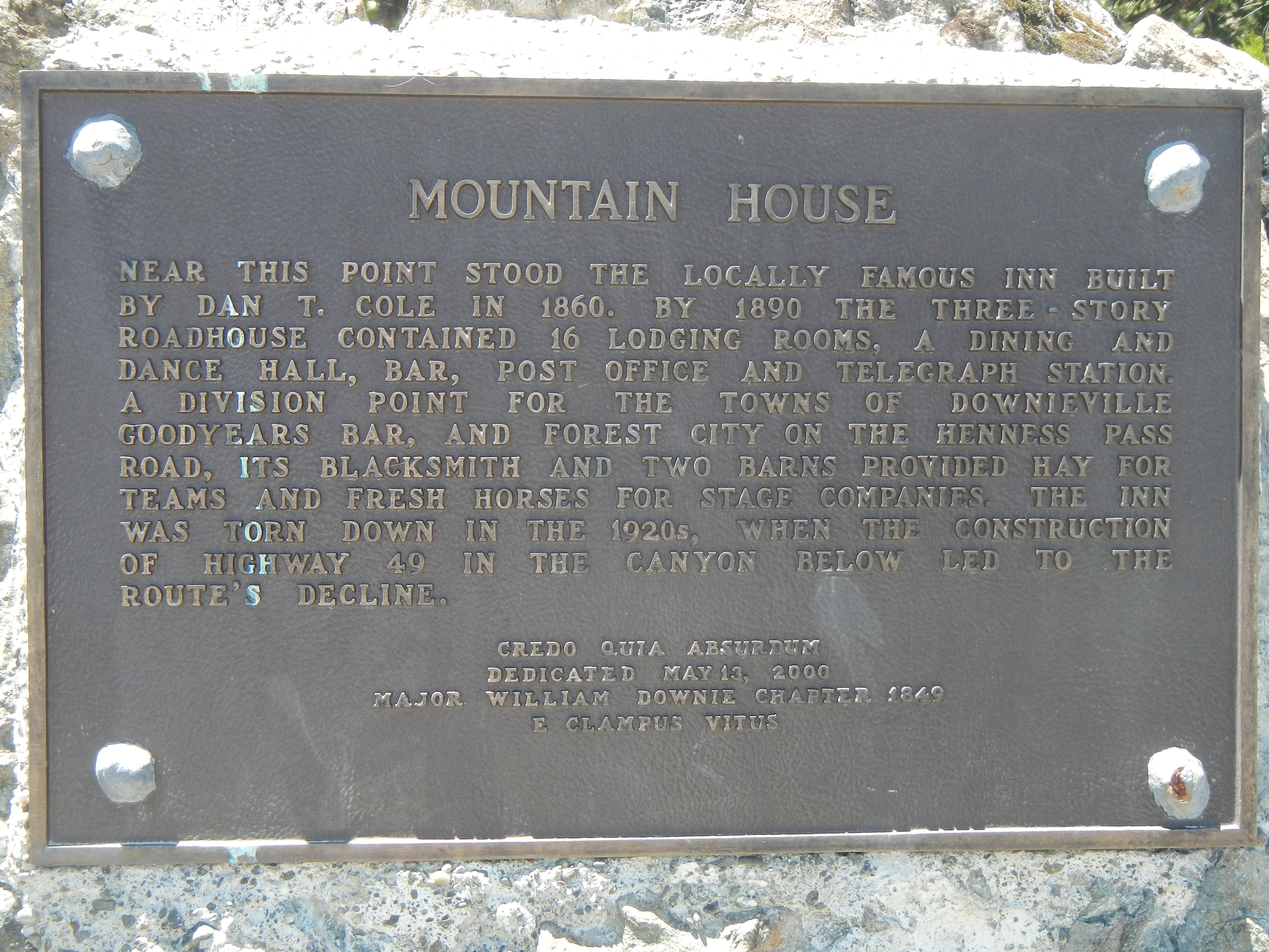 Mountain House Marker