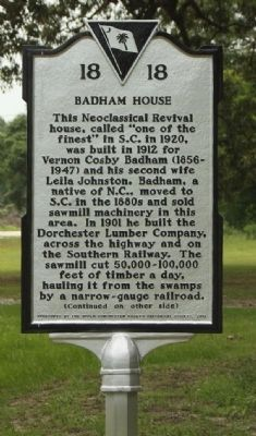 Badham House Marker image. Click for full size.