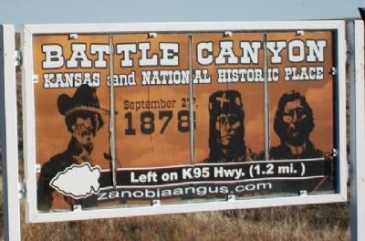 Battle Canyon, 1878 Sign on Kansas Route 96 image. Click for full size.