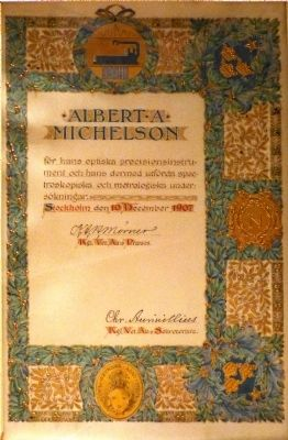 Michelson's Nobel Prize Certificate image. Click for full size.