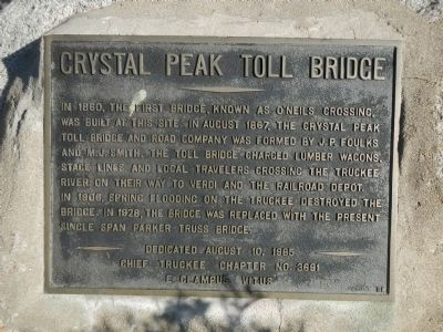 Crystal Peak Toll Bridge Marker image. Click for full size.