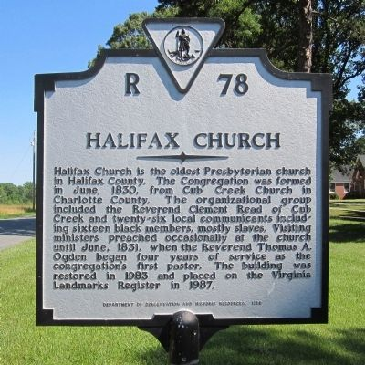 Halifax Church Marker image. Click for full size.