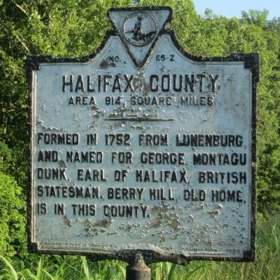 Halifax County Marker (reverse) image. Click for full size.