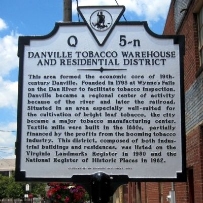 Danville Tobacco Warehouse and Residential District Marker image. Click for full size.