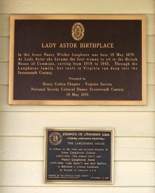 Lady Astor Birthplace Marker image. Click for full size.