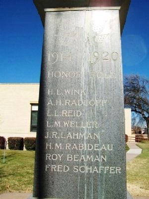 Logan County World War I Honor Roll image. Click for full size.