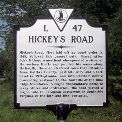 Hickey's Road Marker image. Click for full size.