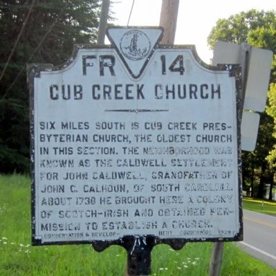 Cub Creek Church Marker image. Click for full size.