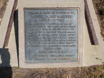 Pacific Coast Railway Right-Of-Way Marker image. Click for full size.