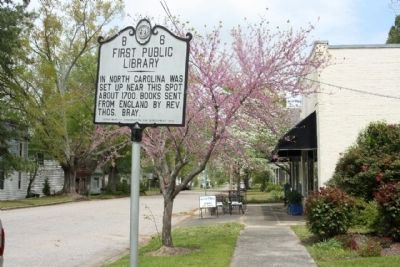 First Public Library Marker seen along Main Street image. Click for full size.