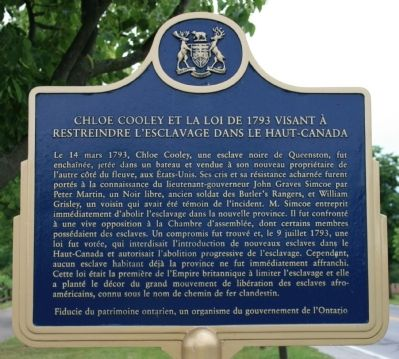 Chloe Cooley and the 1793 Act to Limit Slavery in Upper Canada Marker image. Click for full size.