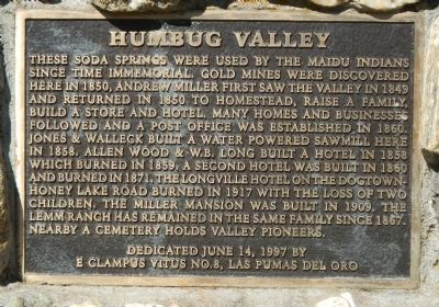Humbug Valley Marker image. Click for full size.