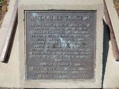 A Terrible Tragedy Marker image. Click for full size.
