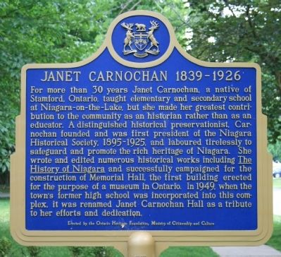 Janet Carnochan 1839 - 1926 Marker image. Click for full size.