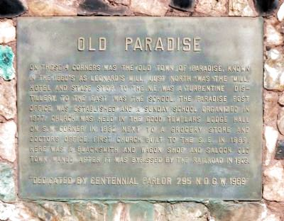 Old Paradise Marker image. Click for full size.
