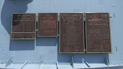 USS <i>Alabama</i> marker (third panel from left) - together with three other panels acknowledging image. Click for full size.