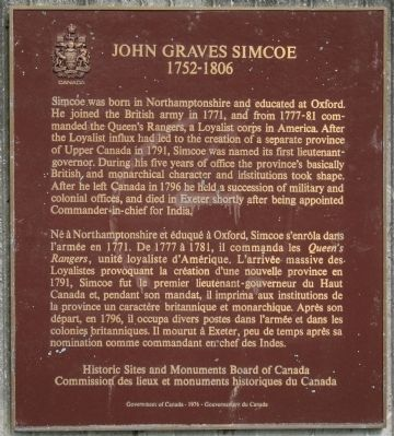 John Graves Simcoe Marker image. Click for full size.