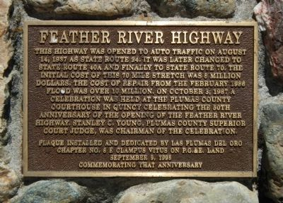 Feather River Highway Marker image. Click for full size.