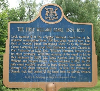 The First Welland Canal 1824-1833 Marker image. Click for full size.