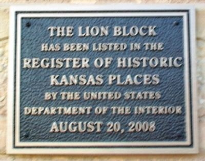 Lion Block Kansas Register Marker image. Click for full size.