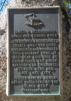 James P. Beckwourth Ranch and Trading Post Marker image. Click for full size.