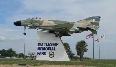 Vietnam-era USAF F-4 Phantom II - on display at entrance to the Battleship Memorial Park image. Click for full size.