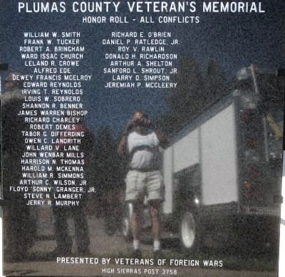 Plumas County Honor Roll - All Conflicts Marker image. Click for full size.