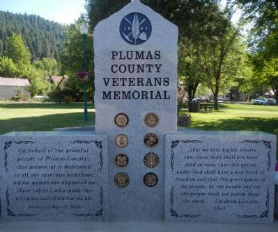 Plumas County Veterans Memorial Marker, Front of Monument image. Click for full size.