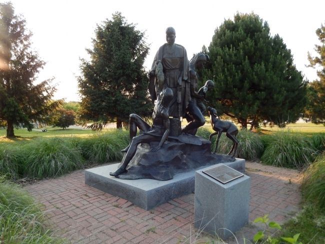 Wyandot Indian Statue near the marker. image. Click for full size.