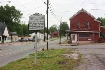 General Baptist State Convention Marker, looking north along George Street near near Pine Street image. Click for full size.