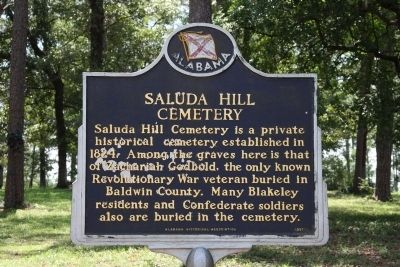 Saluda Hill Cemetery Marker image. Click for full size.